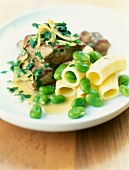Veal stew with rigatonis,broad beans and chervil