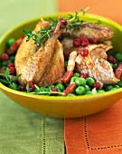 Pigeon with peas and diced bacon