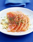 Slices of marinated salmon