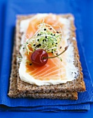 Smoked salmon, cream and young sprout wholemeal bread open sandwich