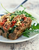 Minced beef,zucchini and pine nut terrine