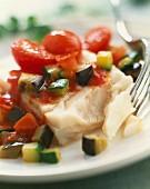 Alaska cod with summer vegetables