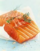 Thick piece of raw salmon