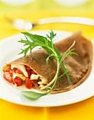 Tuna,tomato and mozzarella buckwheat flour pancake