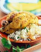 Roast tandoori young cockerel