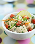 Fish,summer vegetable and grated coconut salad