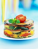 Grilled vegetable and apple soft cake