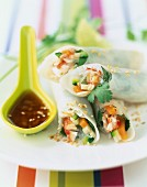 Crab meat and vegetable spring rolls