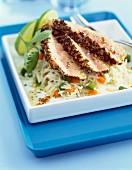 Half-cooked Albabcore tuna with crisp crust and basmati rice