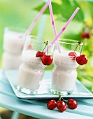 Yoghurt and cherry milk shake
