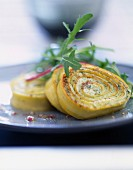 Ricotta and spinach rolled savoury cake