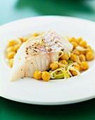Salt-cod with leeks and chick peas