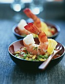 Gambas and vegetable salad