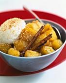 Pineapple and cinnamon fruit salad with coconut sorbet