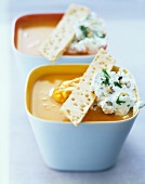 Cream of pumpkin soup with hazelnut whipped cream
