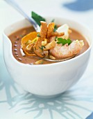 Chilled Dublin Bay prawn soup with pan-fried chanterelles