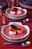 Marshmallow and pink cream dessert