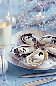 Oysters with foie gras-flavored whipped cream