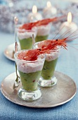 Cream of avocado with shrimp mousse