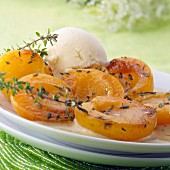 Roast apricots with thyme and a scoop of vanilla ice cream