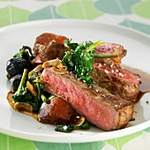 Thick piece of beef with vegetables