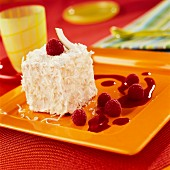 Coconut Mont-blanc with raspberry puree