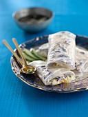 Foie gras and rice pasta rolls