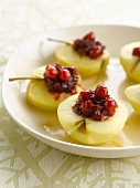 Apples with stewed redcurrants and figs