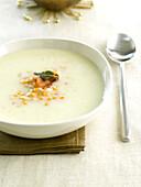 Cream of celery soup with orange lentils