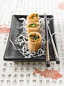 Salmon and coriander rolls