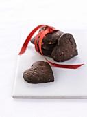 Heart-shaped chocolate cookies