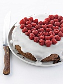 Chocolate cake coated with icing and fresh raspberries