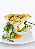 Focaccia with soft-boiled egg and samphire