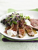 Beef Tagliata with young shoots