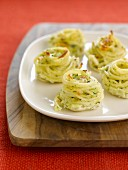 Spaghetti nests with leeks ,ham,fromage frais and Gruyère