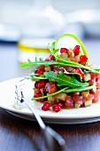 Tuna Tartare with pomegranate seeds and eggplant