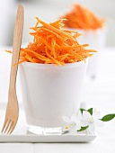 Grated carrots with orange juice and cumin