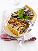 Cep savoury tart with walnut wine sauce