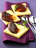 Shortbread cookies with chocolate Ganache and rosemary