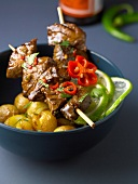 Thai-style marinated beef skewers with Grenaille potatoes