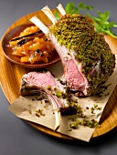 Loin of lamb in spicy crust,apricot and saffron chutney