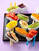 Fresh fruit sushis,rice with coconut