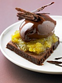 Chocolate shortbread with chocolate cream and vanilla-flavored pineapple
