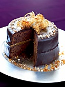 Chocolate,almond and toffee cake