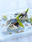 Sea bream fillets with risotto and parmesan