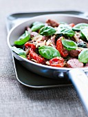 Lamb,basil and sun-dried tomato stir-fry