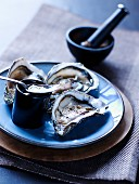 Oysters with honey and black pepper
