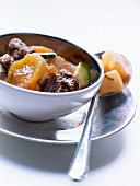 Beef, carrot, dried apricot and zucchini stew