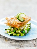 Green tomato and cucumber Tartare,crunchy sesame seed filo pastry sheets