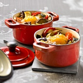 Small casserole dish of ratatouille with an egg